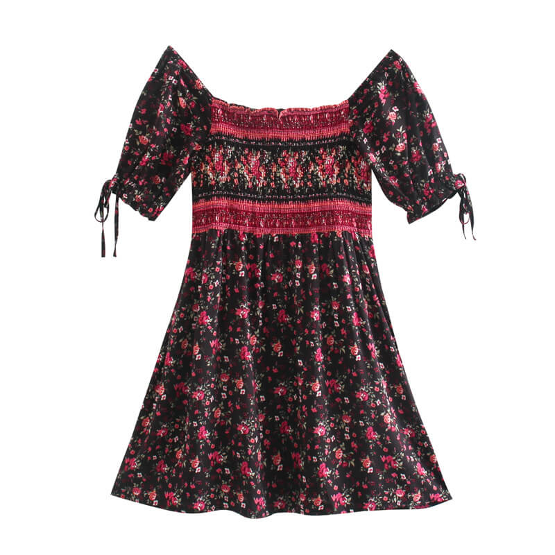 Puff Sleeve Square Neck Floral Mini Dress - Black Red
