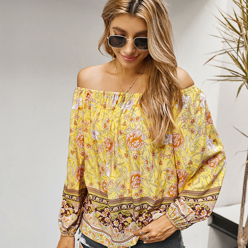 Slash Neck Floral Long Sleeve Blouse -  Yellow
