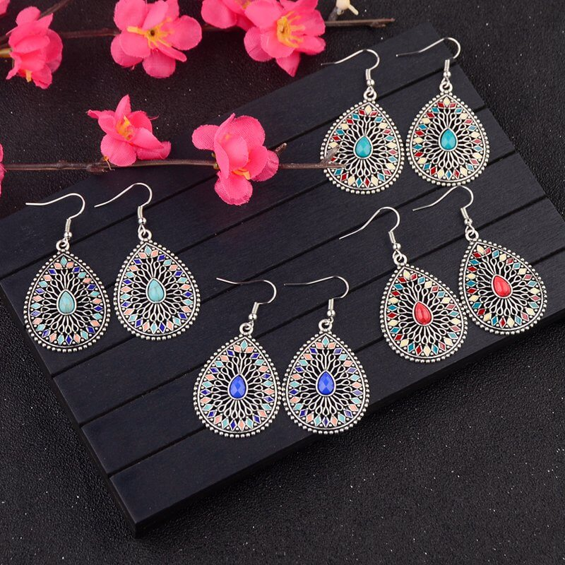 Boho Vintage Ethnic Essential Oils Dangling Earrings - Shes Lady