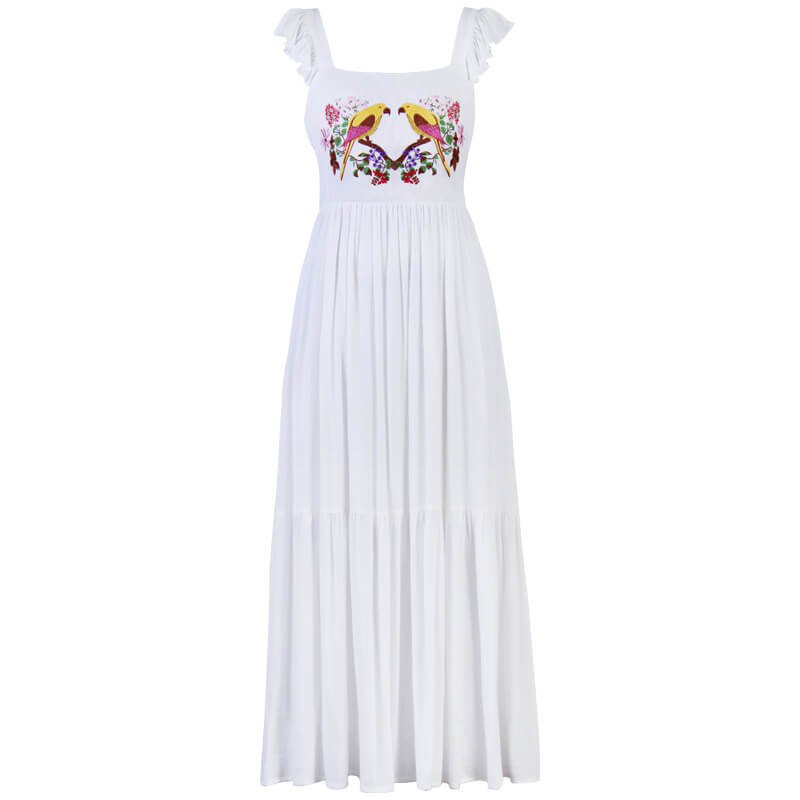 Parrot Embroidery Ruffle Straps Dress