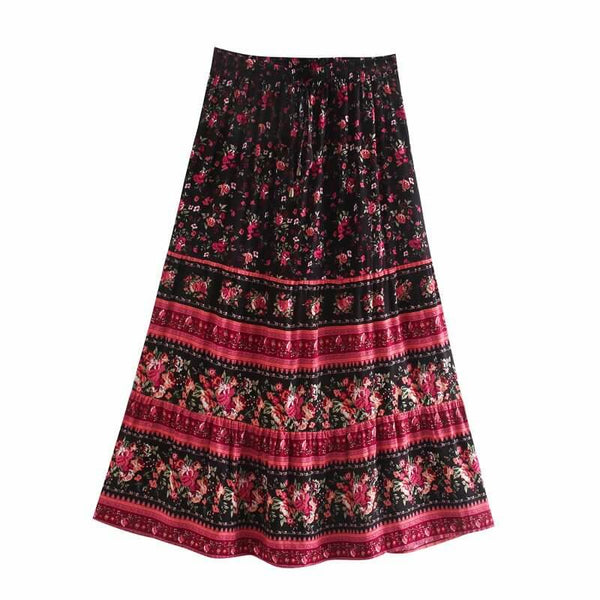 Casual Elastic Floral Skirt - Red Black
