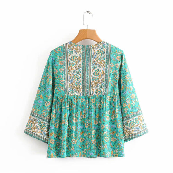 Button V Neck Flare Sleeve Floral Blouse