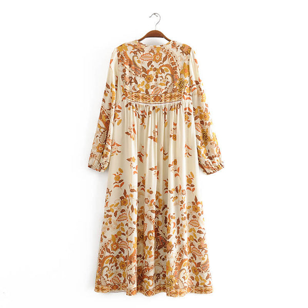 Retro Tassel Floral Print Long Sleeve Midi Dresses