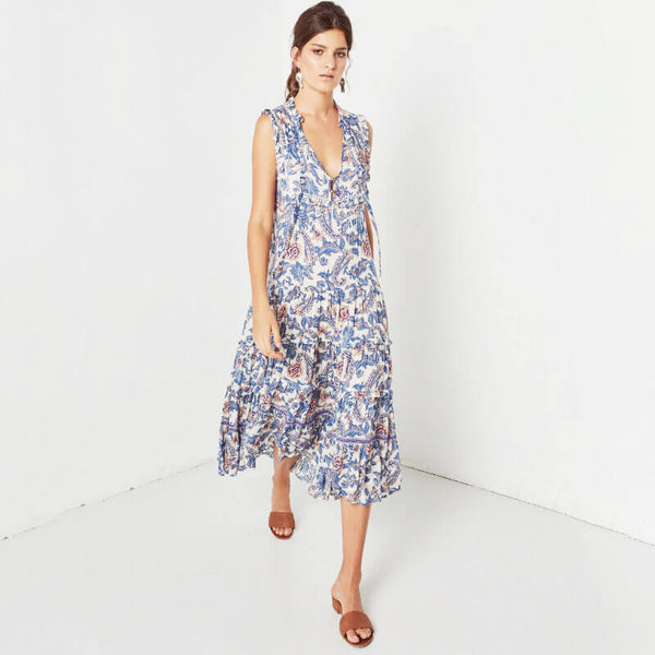 Retro Palace Floral Sleeveless Midi Dress - Shes Lady
