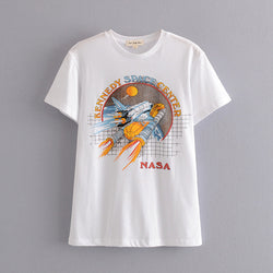 Rock Printed Casual Tee White - Shes Lady