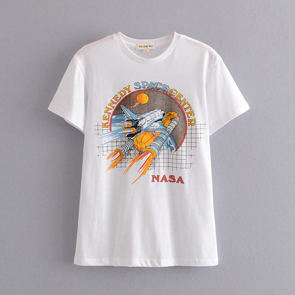 Rock Printed Casual Tee White