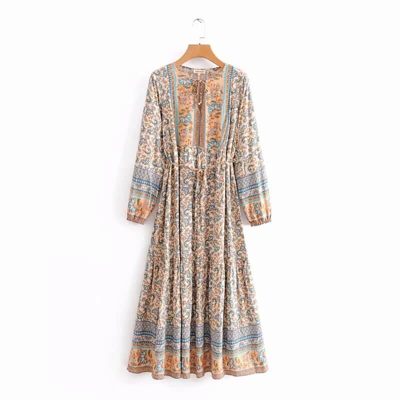 Boho Chic Long Sleeve Floral Midi Dresses - Shes Lady