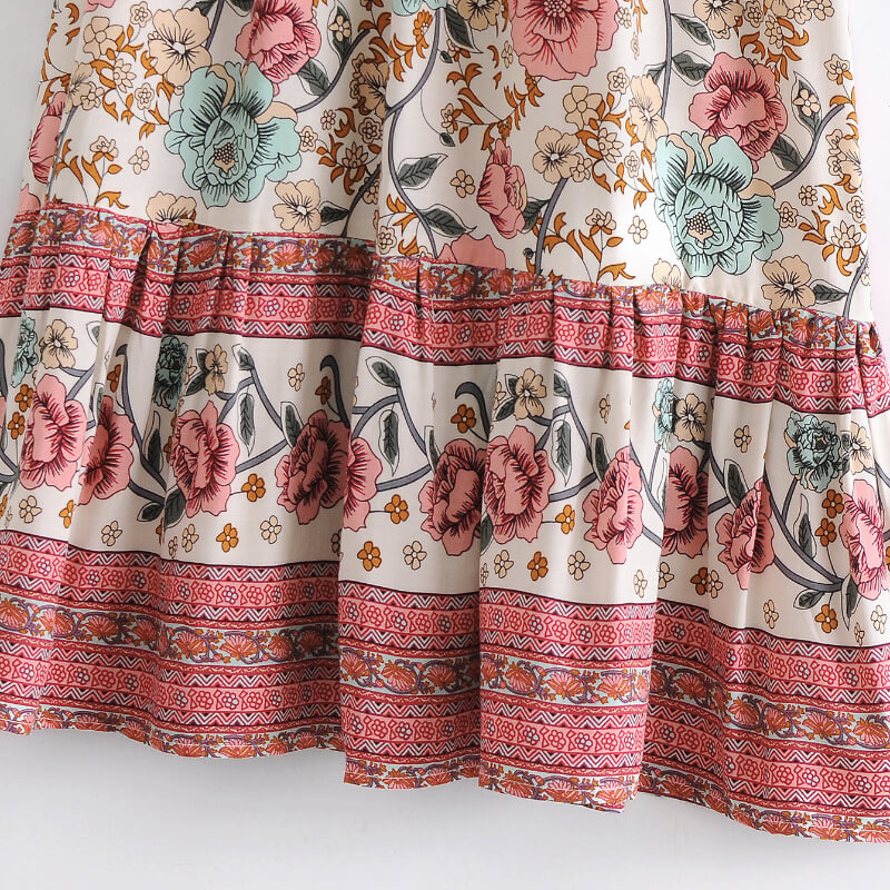 Slash Neck Short Sleeve Floral Dresses - Beige