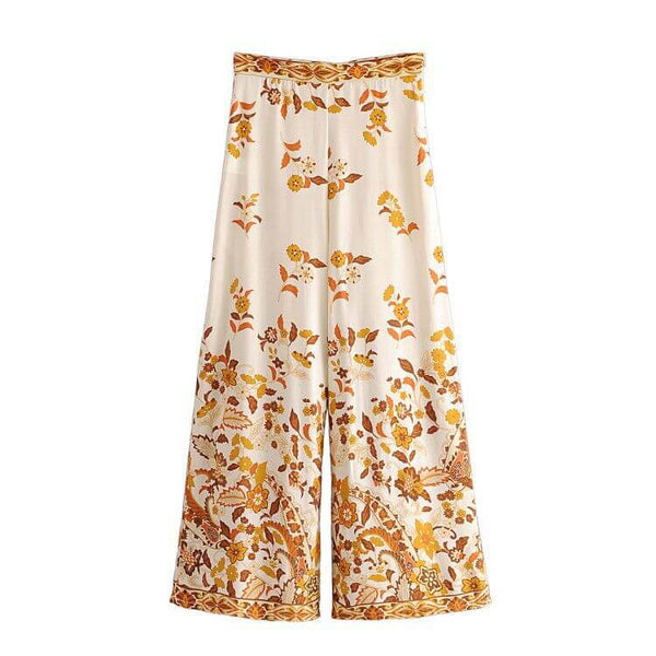 Elegant Floral Print Wide Leg Long Pant - Shes Lady