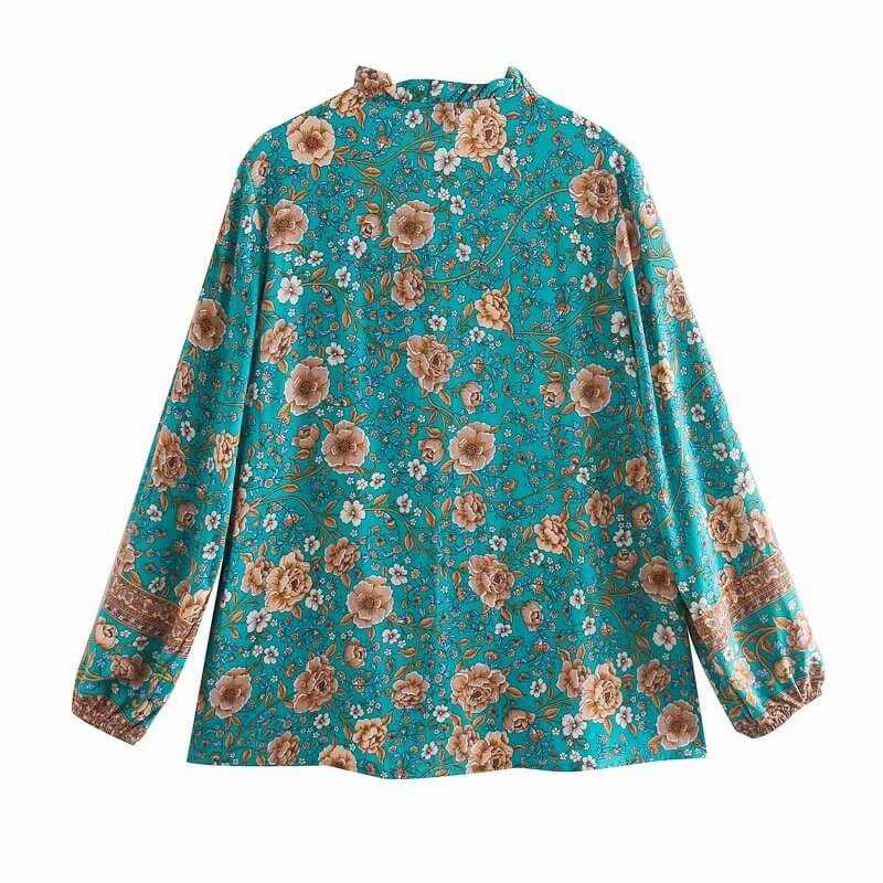 Frill V Neck Long Sleeve Floral Blouse