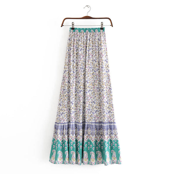 Summer Floral Tassel Waist Skirt - Shes Lady