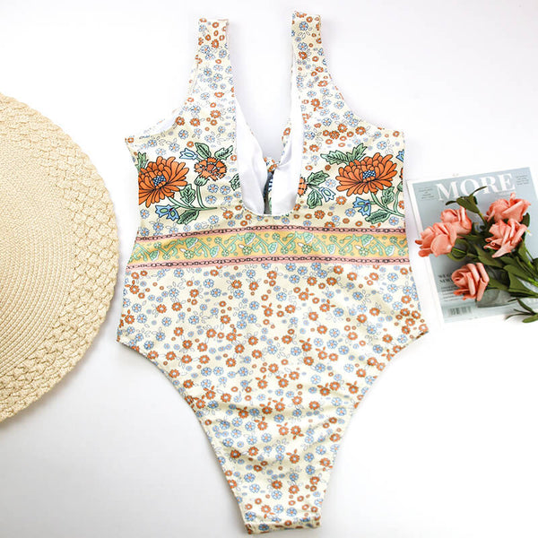 Bohemian Floral Style One Piece Swimsuit - Shes Lady