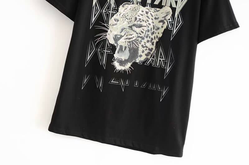 Cheetah Print Short Sleeve T-Shirt Black - Shes Lady