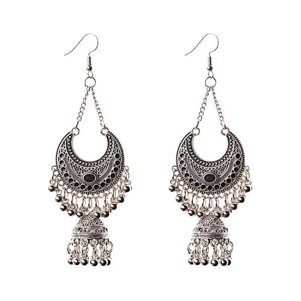 Long Small Bell Fringed Tassel Earrings