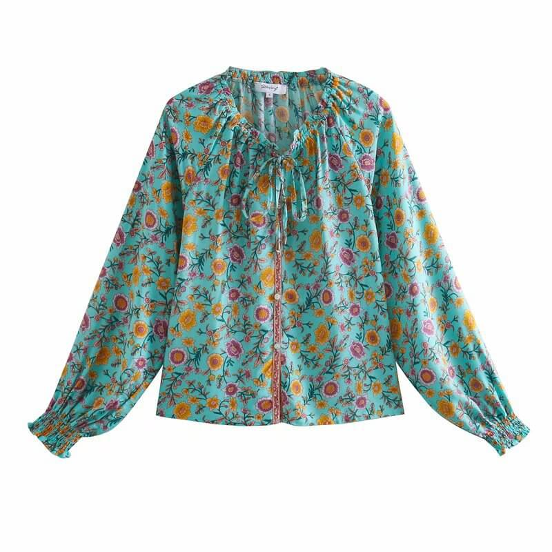 Elastic Cuff Sleeve Frill Neckline Floral Blouse