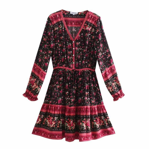 Long Sleeve Buttons Front Floral Mini Dress