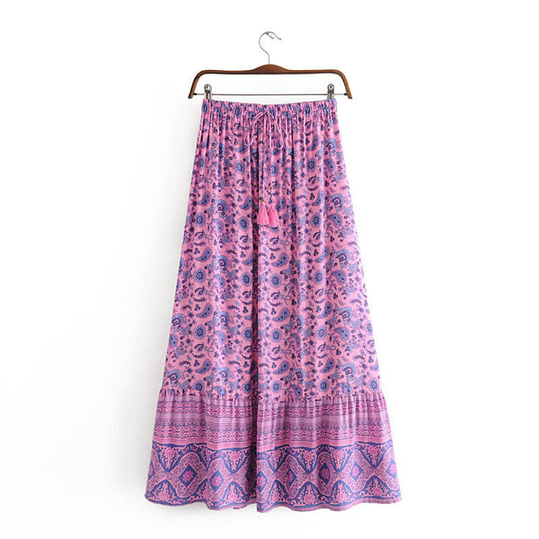 Retro Tassel Floral Print Skirt - Shes Lady