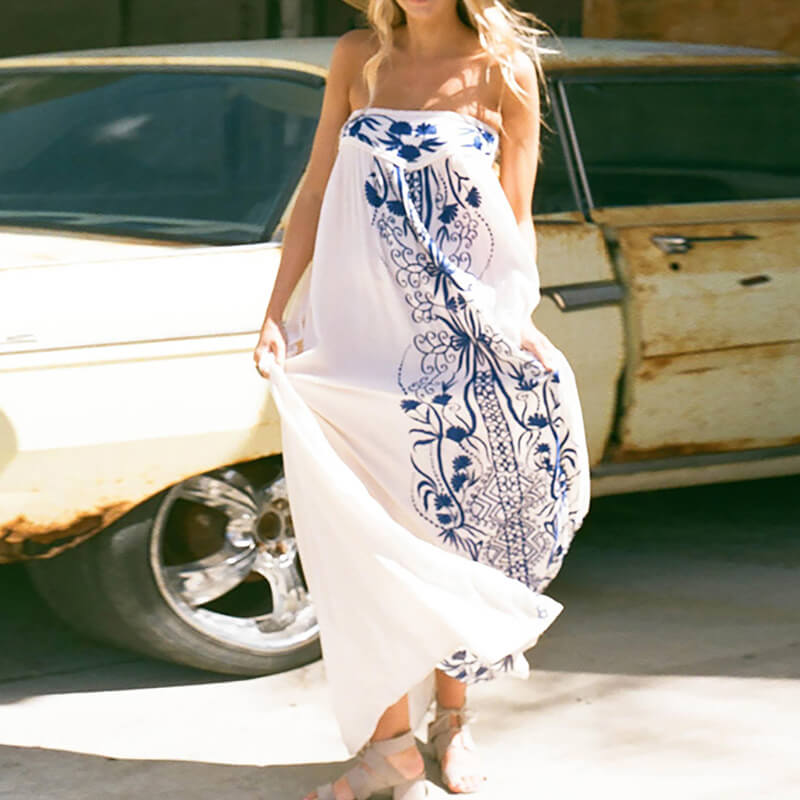Mexico Embroidery Strapless Long Dress - Shes Lady