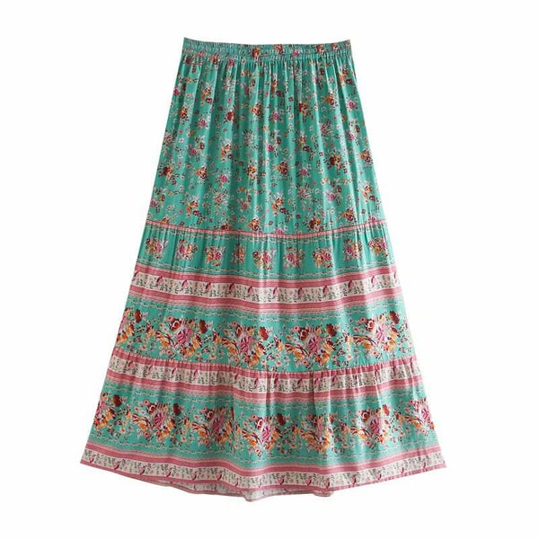 Casual Elastic Floral Skirt - Green