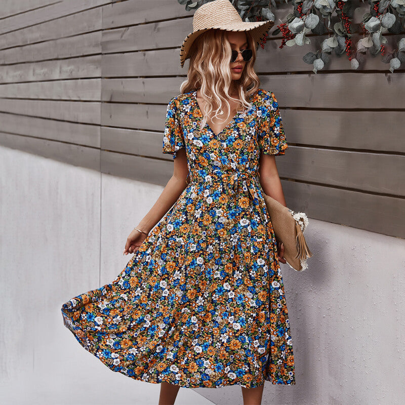 Casual V Neck Belted Floral Midi Dress