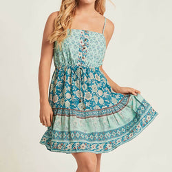 Sexy Strap Boho Floral Mini Dress - Shes Lady