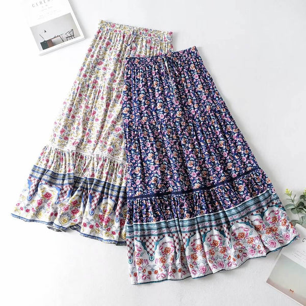 Elastic Waist Floral Print Long Skirt - Shes Lady