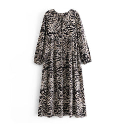 Long Sleeve Zebra Print Midi Dress