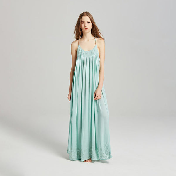 Embroidery Sexy Sleeveless Halter Maxi Dresses