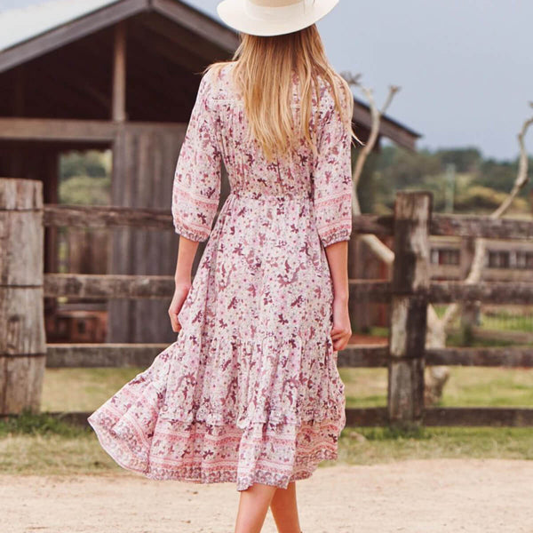 Floral V Neck Drawstring Waist Midi Dress - Shes Lady