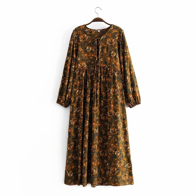 Casual Floral Long Sleeve Midi Dresses