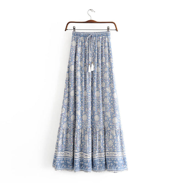Light Blue Casual Floral Skirt - Shes Lady