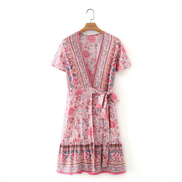 Cute Floral Belted Wrap Mini Dress - Pink