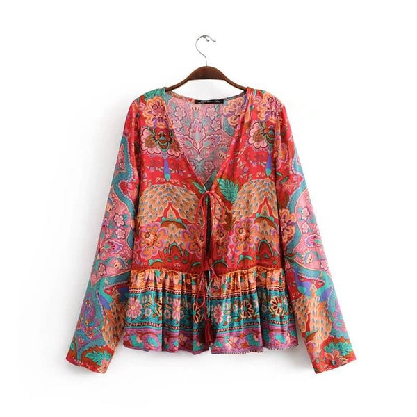 Peacock Floral Print Long Sleeve Tie Blouse Top - Shes Lady