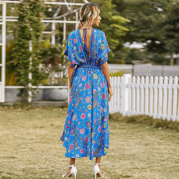 Drawstring Waist Deep V Neck Boho Floral Long Dress