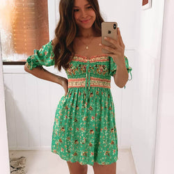 Tie-Up Sleeve Square Neck Floral Mini Dress - Green