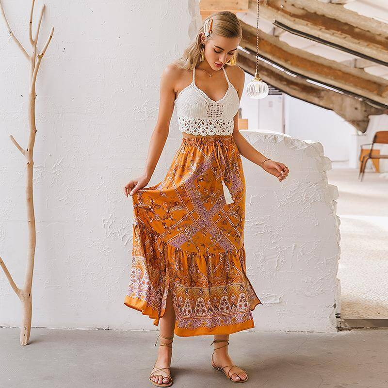 Drawstring Tassel Waist Floral Long Skirt - Shes Lady