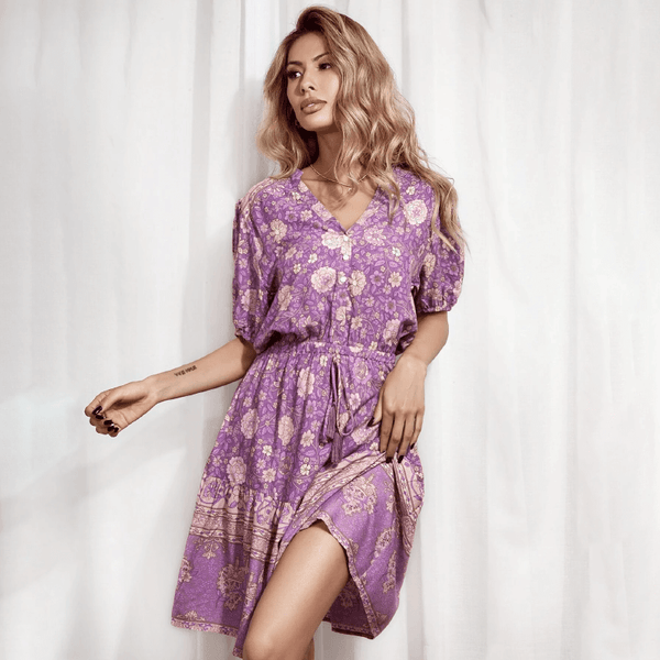 Button V Neck Drawstring Waist Short Dress - Purple