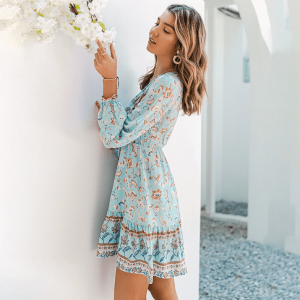 Long Sleeve Floral Knot Waist A-Line Dress