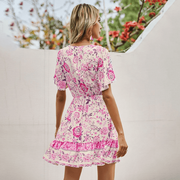 Cute Tassel Waist Floral Mini Dress - Pink