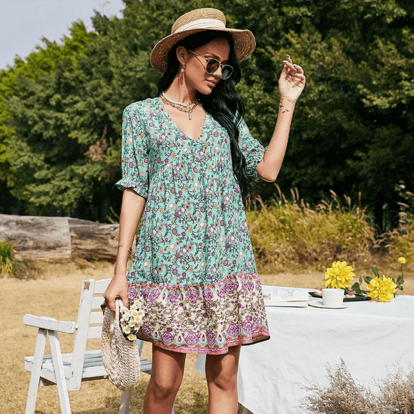 Elegant Floral V-Neck Boho Short Dress - Green