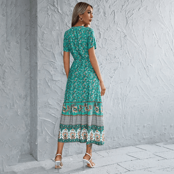 Elegant V Neck Floral Midi Dress - Green