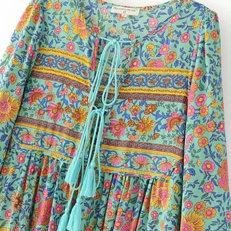 Elegant Bohemian Floral Print Tassel Vacation Dresses - Shes Lady