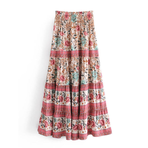 Retro Boho Floral Long Skirt - Beige
