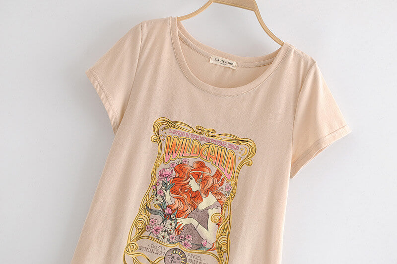 Casual Print Slim T-Shirt - Shes Lady