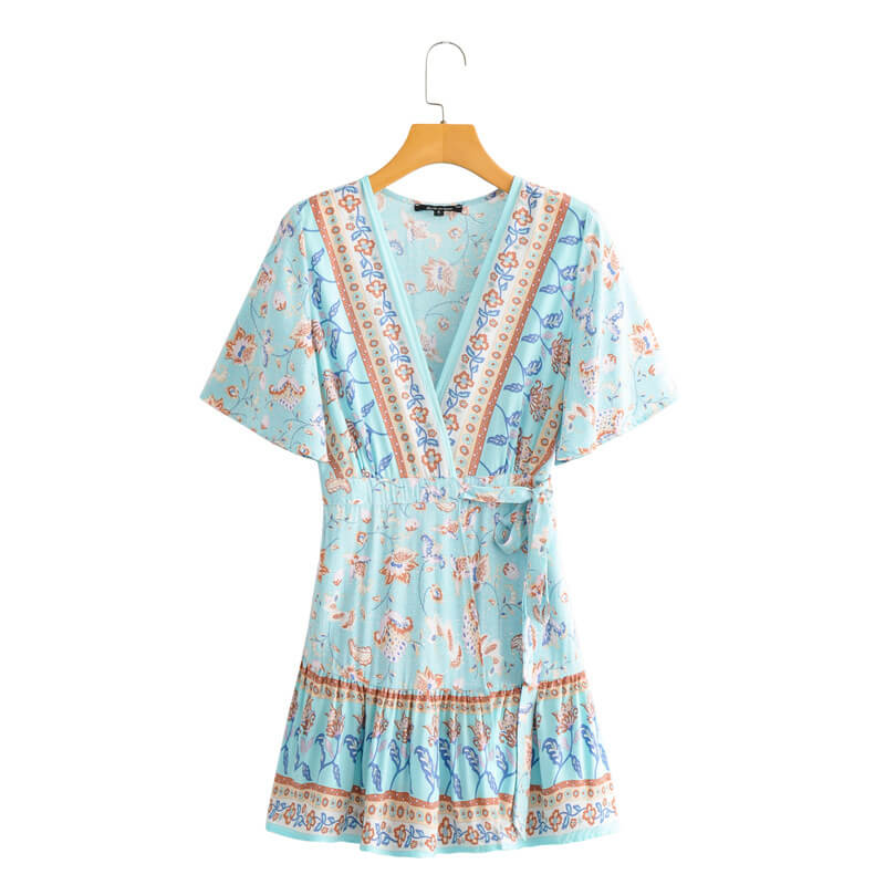Boho Chic Floral V Neck Mini Wrap Dress