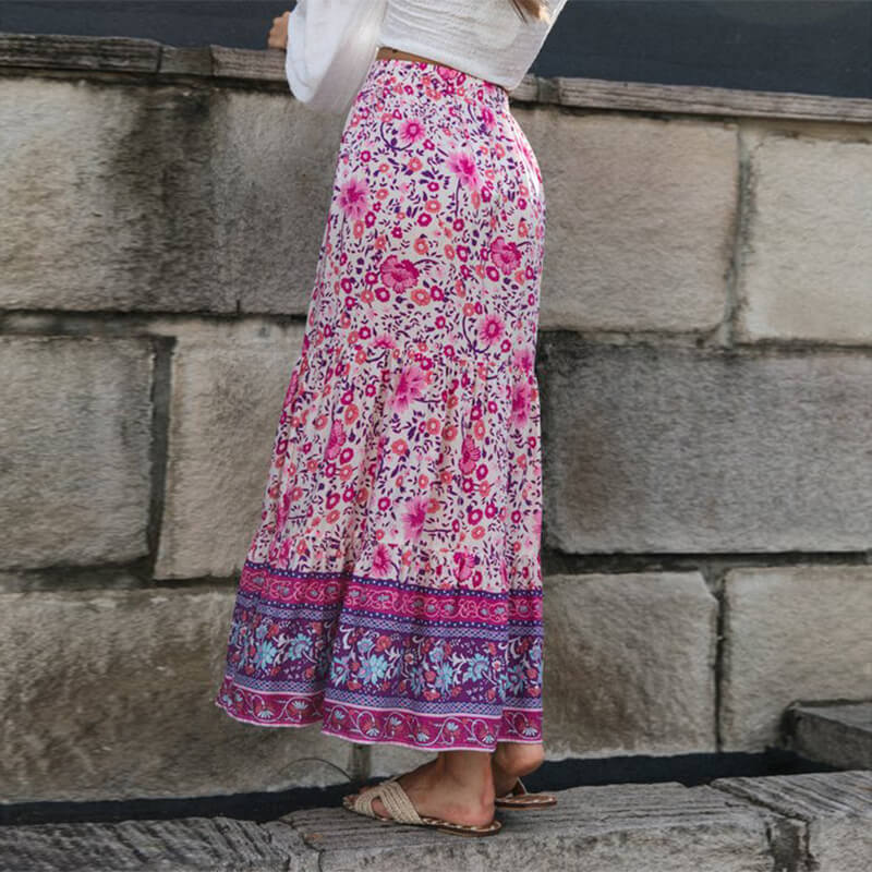 Gypsy High Waist Floral Skirt