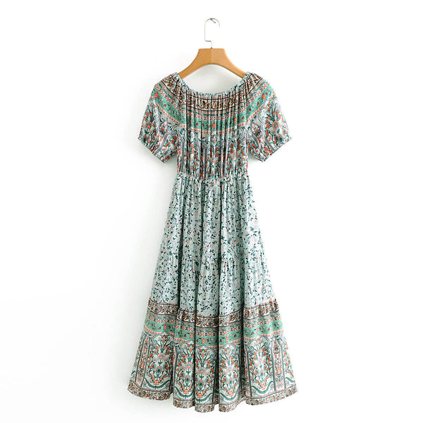 Bohemian Floral Off the Shoulder Midi Dresses - Shes Lady