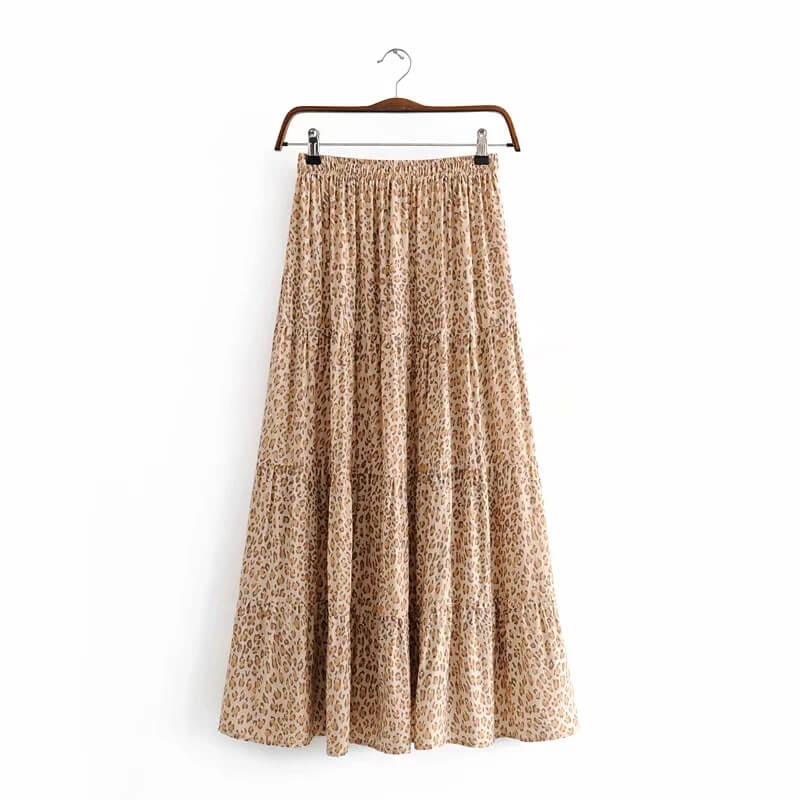 Drawstring Waist Retro Leopard Print Skirt - Shes Lady