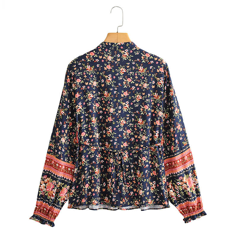 Button Front Floral Long Sleeve Blouse - Navy Blue