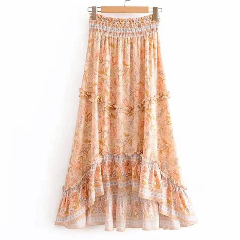 Boho Chic High Elastic Waist Asymmetrical Floral Skirts - Shes Lady